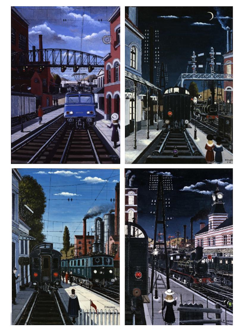 """Train World-Paul Delvaux - Paul Delvaux, """"Gare de Jour I&II"""", """"Gare la Nuit I&II"""" (c) Foundation Paul Delvaux, St Idesbald/ SABAM, 2019 / SNCB/ NMBS"""
