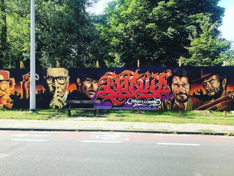 Fouad Hachmi et Aze fresque Ennio Morricone Bruxelles street art  -  Fouad Hachmi et Aze fresque Ennio Morricone (c) Najat Mimouni