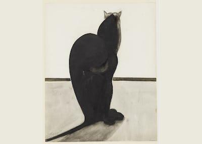 """Léon Spilliaert """"Chat de dos, debout et tourné vers l'horizon"""", 1901-1902, Plume, crayon et encre de Chine sur papier © KBR"""